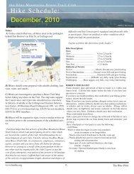 Hike Schedule: December, 2010 - Blue Mountains Bruce Trail Club