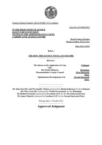 R(long) v WM Judgment Approved FINAL - Monmouthshire County ...