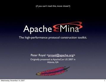 The High Performance Protocol Construction Toolkit - Apache MINA
