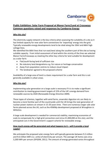 Public Exhibition: Solar Farm Proposal at Manor Farm/Land at ...