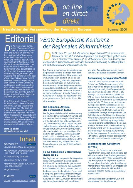 EXE ARE ALLEMAND JUILLET 00 -  Assembly of European Regions