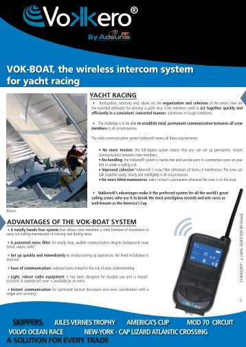 ® VOK-BOAT, the wireless intercom system for yacht racing - Vokkero