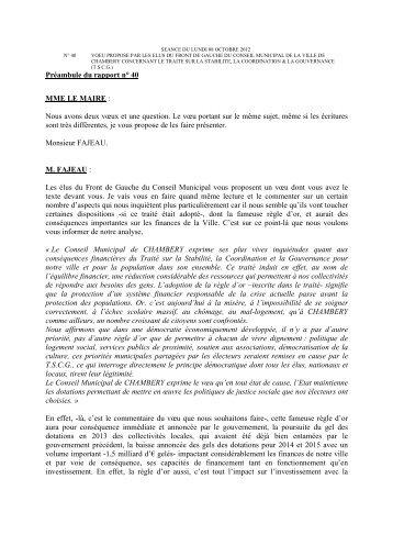 Préambule du rapport n° 40 MME LE MAIRE - Ville de Chambéry