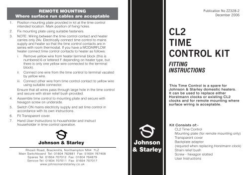 ZZ328-2 CL2 TIME CONTROL KIT ING ... - Johnson & Starley on