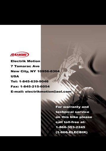 Copy of Rayos Electric Bike Manual in PDF format - Electrik Motion