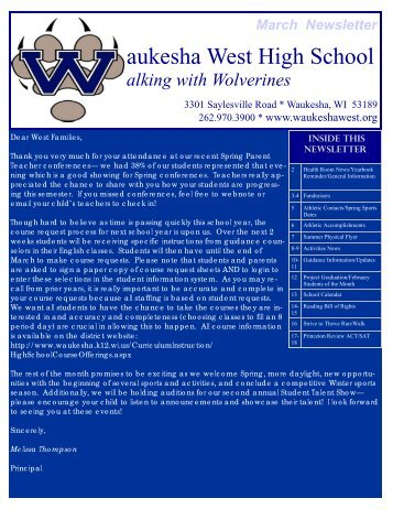 March Newsletter Aukesha West High School - Waukesha School ...
