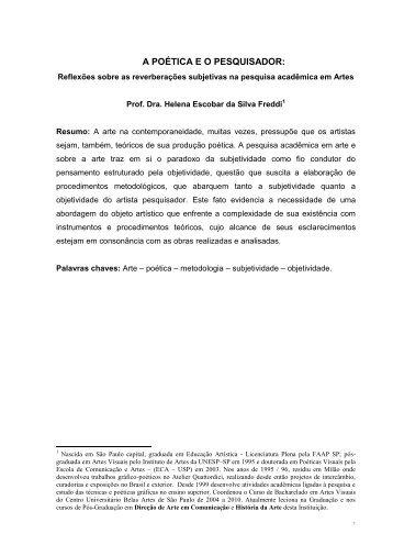 A POÉTICA E O PESQUISADOR: - Belas Artes