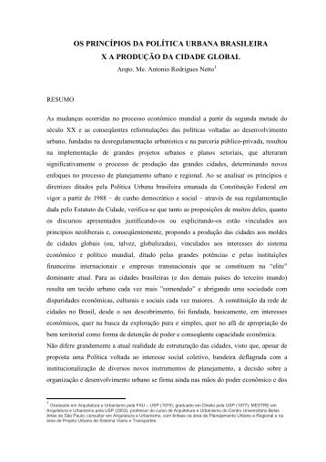os princípios da política urbana brasileira xa produção da cidade ...