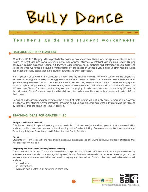 Teacher's guide and student worksheets - Office national du ...