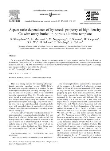 Aspect ratio dependence of hysteresis property of high density Co ...