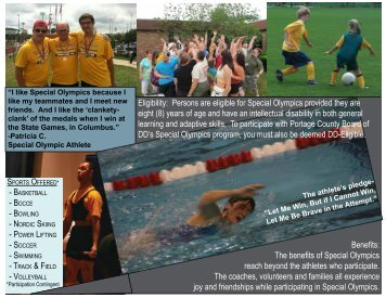 TRACK & FIELD Eligibility: Persons are eligible for Special Olympics ...