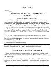LINN COUNTY STANDARD PARENTING PLAN