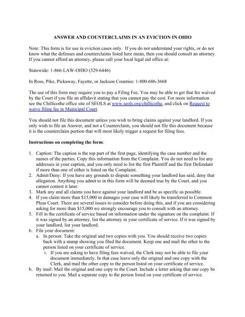 Answer and Counterclaims to an eviction - Southeastern Ohio