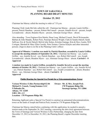 October 25 2012 Planning Board Minutes - Town of Saratoga
