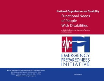 Functional Needs of People With Disabilities - The National ...