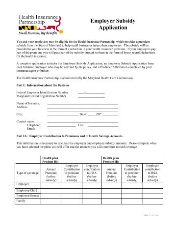 Employer Subsidy RENEWAL Application Form - Maryland Health ...