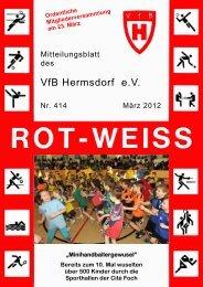 Termine - VfB Hermsdorf eV Vereinszeitung ROT-WEISS