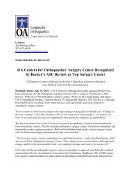 Surgery Center Recognized by Becker's ASC Review as Top ...
