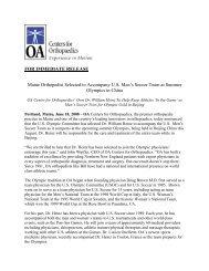 for immediate release - Orthopaedic Associates