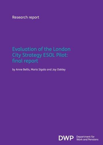 Evaluation of the London City Strategy ESOL Pilot: final ... - Gov.UK