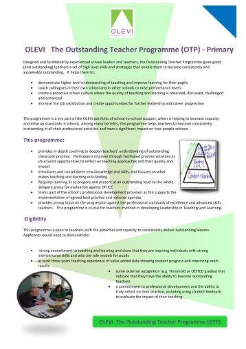 Outstanding Teacher Programme – Primary - Lampton School
