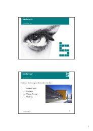 1. Binder+Co AG 2. Produkte 3. Märkte (Trends) 4. Strategie