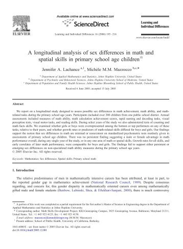 A longitudinal analysis of sex differences in math