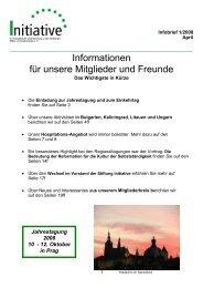 Informationen für unsere Mitglieder und Freunde - Initiative Europa