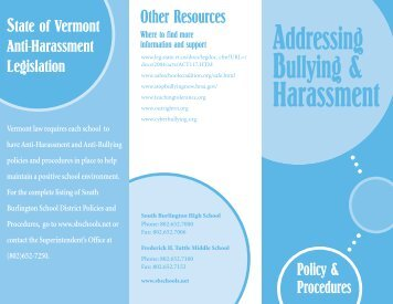 Bullying and Harassment Pamphlet - South Burlington High School