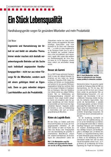 Ein Stück Lebensqualität: Handhabungsgeräte ... - VESA GmbH