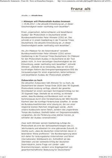 Altmeyer will Photovoltaik-Ausbau bremsen( 19.06.2012 (pdf) - verena