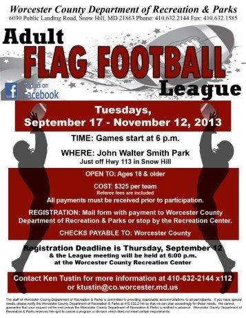 Adult Flag Football League - Worcester County