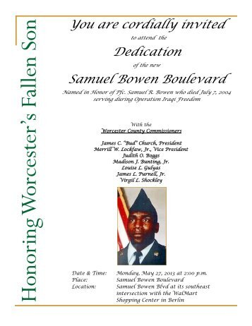 Invitation to Dedication of Samuel Bowen ... - Worcester County