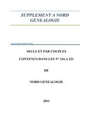 SUPPLEMENT A NORD GENEALOGIE - Site du Groupement ...