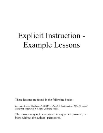 examples of explicit instruction