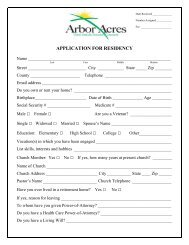Residency Application - Arbor Acres