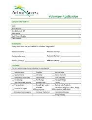 Volunteer Application - Arbor Acres