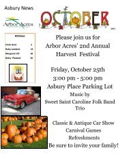 Monthly Asbury Place Newsletter - Arbor Acres