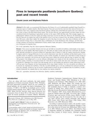 Lavoie et Pellerin 2007 - Peatland Ecology Research Group