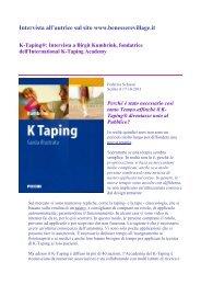 Intervista all'autrice sul sito www.benesserevillage.it K-Taping - Piccin