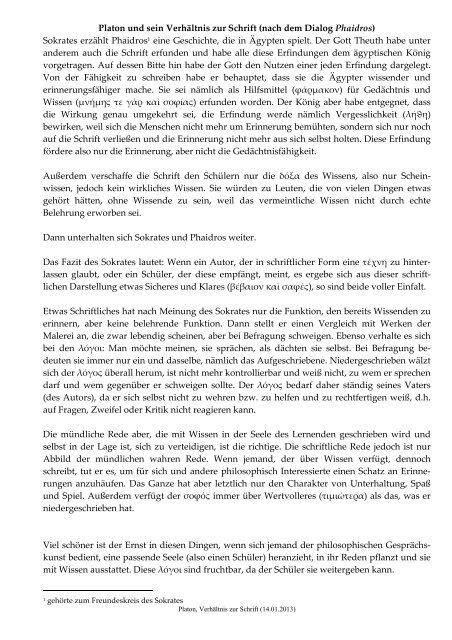 Platon, Verhältnis z..