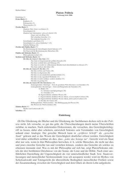 Platon - Politeia - Huber-tuerkheim.de