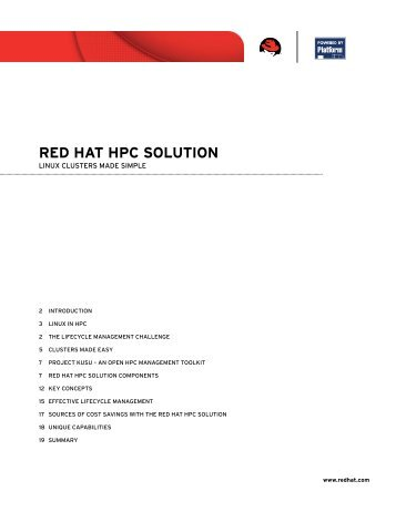 Red hat hpc solution components - Platform Computing
