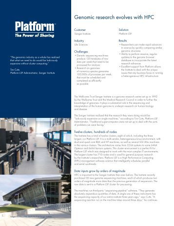 Genomic research evolves with HPC - Platform Computing