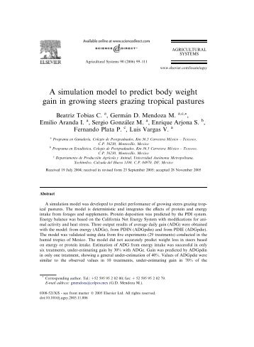 A simulation model to predict body weight gain in ... - ResearchGate