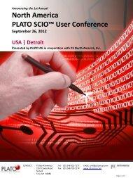 North America PLATO SCIO™ User Conference - Plato AG