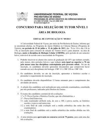 Edital 09/2013 - DTI- Diretoria de Tecnologia da Informação - UFV