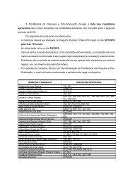 A Pró-Reitoria de Pesquisa e Pós-Graduação divulga a lista dos ...