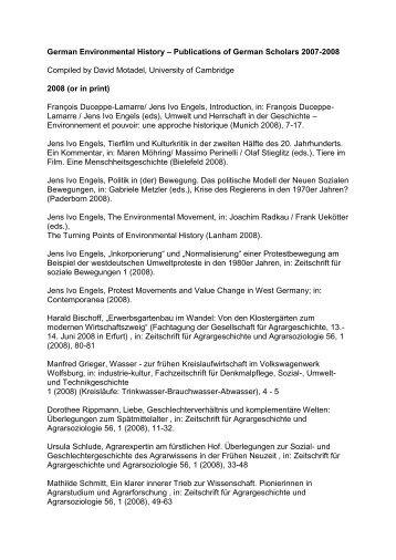 German Environmental History – Publications of German Scholars ...