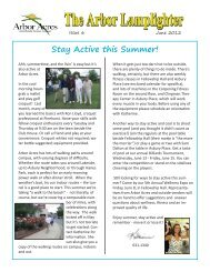 Stay Active this Summer! - Arbor Acres